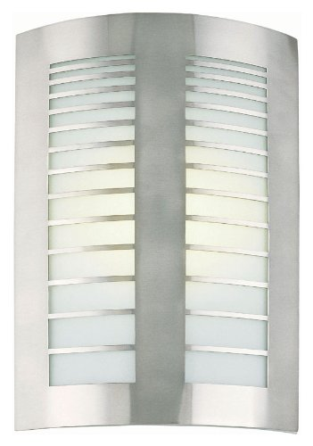 Lite Source LS-1649PS/FRO Graf Fluorescent Wall Sconce Lite, Polished Steel with Frost Glass Shade