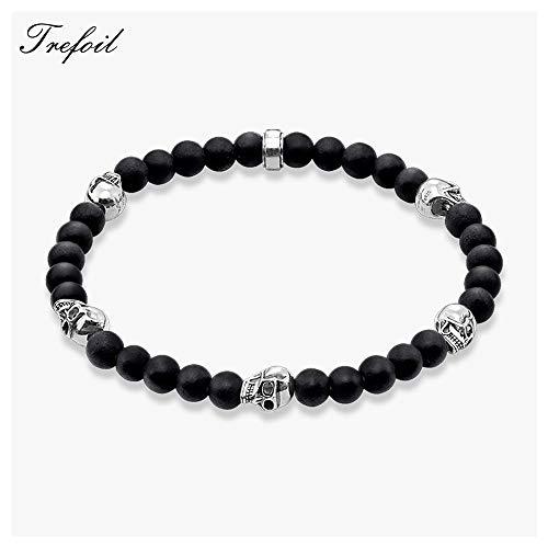 - Bracelet Strand with 5 Skulls Beads New Blackened Silver Fashion Jewelry | Gift for Men Boy Women Girls