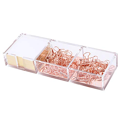 Rose Gold Notes Holder with Cube Memo Pad 320 Sheets, Acrylic 3 in 1 Drawer Organizer by Draymond Story - Desktop Stationery Series (Thank You Gifts for Boss)