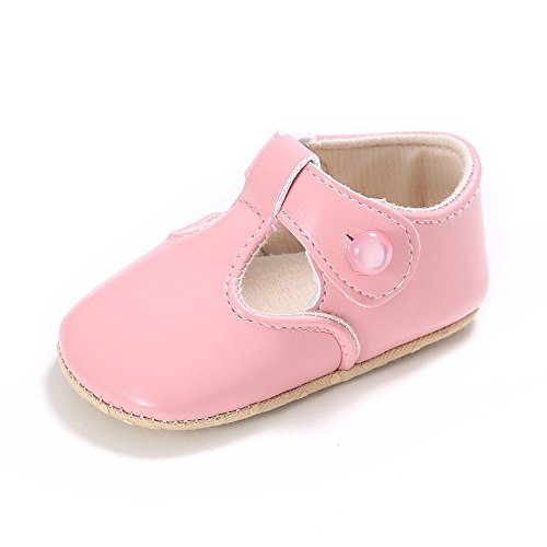 Enteer Baby Girls' Retro Leather Button Mary Jane Shoes Pink US 4
