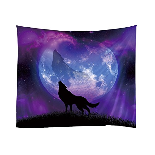 Messagee Purple Wolf Tapestry Wall Hanging Indian Wall Art