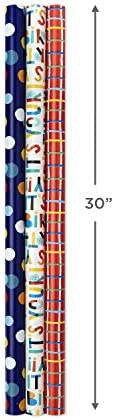 Hallmark Birthday Wrapping Paper Bundle with Cut Lines on Reverse (3-Pack: 55 sq. toes. ttl.) Bright and Holographic Prints and Patterns in Red, Blue, Yellow, White and More