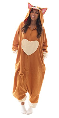 Adult Onesie Corgi Animal Pajamas Comfortable Costume with Zipper and Pockets -