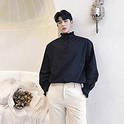 RSL Suelta Nuevo diseño Estilista de Moda de Corea del Cuello de la Camisa Personalizada Camisa Marea Camiseta del Club de Sexo Masculino (Color : Black, Size : XL): Amazon.es: Hogar