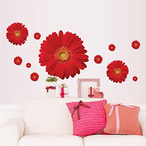 Sunflower Wall Decals Yellow Pink Daisy Flowers Wall Stickers Peel and Stick Removable Wall Art Home Decor Kids Nursery Stickers (Red)
