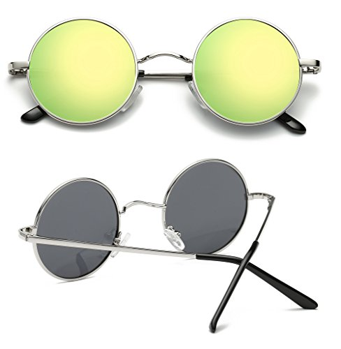 Steampunk círculo inspirado Retro gafas estilo de hombres Plateado 47mm Oro redondo Hat metálico sol para Panda polarizadas TIxfXwE