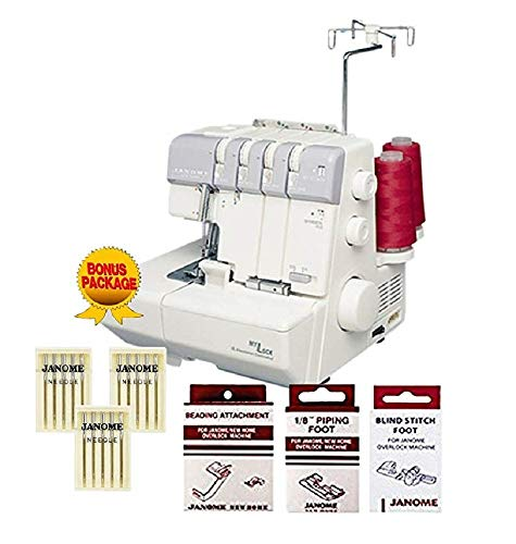 Janome MyLock 634D Overlock Serger, with Self Threading Lower Looper, Differential Feed, 2 needle, 2/3/4 Thread Overlock Stitching with FREE BONUS PACKAGE! (Threading Dial)