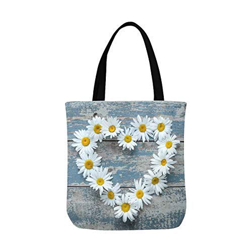 InterestPrint Daisy Flowers in Heart Shape on Blue Painted Wood Unisex Canvas Tote Canvas Shoulder Bag Resuable Grocery Bags Shopping Bags for Women Men Kids - Bag Canvas Tote Flower Girl