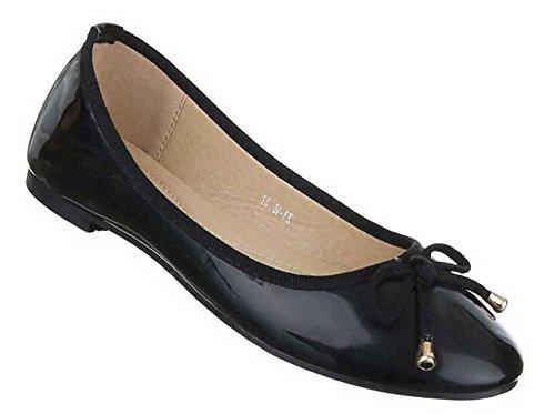 Damen Ballerinas Schuhe Pumps Schwarz Schwarz
