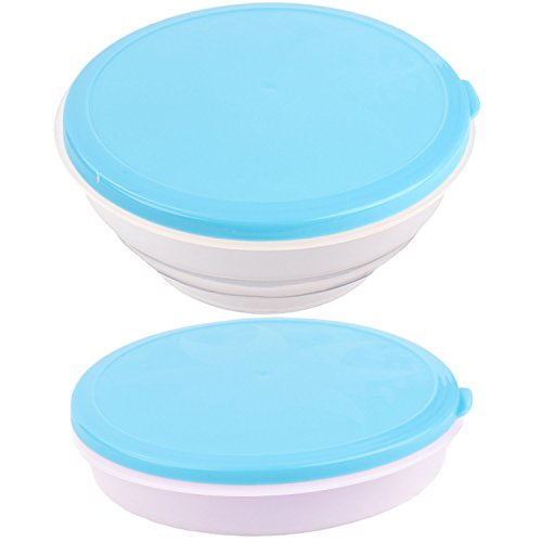 Collapsible Dog Bowl with Lid - Portable Travel Food and Water Pet Bowl by bogo Brands (Blue) (Travel Plastic Bowl)