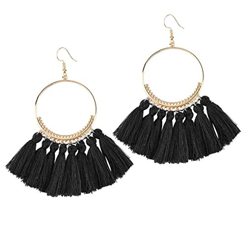 Shaped Tassel (Swyss Bohemian Fan-shaped Multiple Stocks Tassel Long Earrings Round Hook Earrings Fashion Trend Jewelry (F))