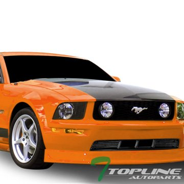 Topline Autopart Matte Black Horizontal Front Lower Bumper Grill Grille ABS For 05-09 Ford Mustang V6 With Pony Package