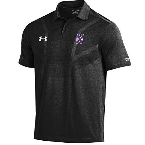 NCAA Northwestern Wildcats Men's Sideline Tour Coaches Polo, Large, Black