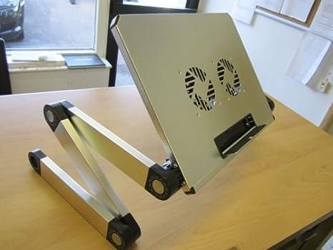 Mesa de refrigeración portátil para ordenador portátil, soporte de escritorio + patas plegables multiángulo: Amazon.es: Electrónica