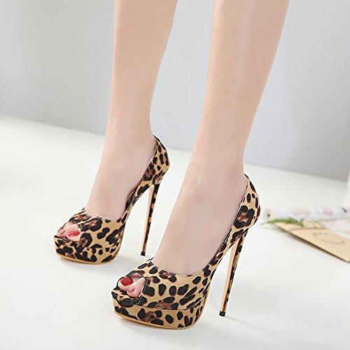 Aisun Damen Sexy Peep Toe Leopardenmuster Plateau Low Top Stiletto Sandale Braun