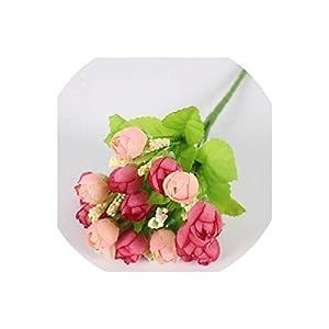 Old street Autumn 15 Heads/Bouquet Small Bud Roses Bract Artificial Flower Silk Rose DIY Wedding Home Christmas Decor Flowers Rose Gift,A Deep Pink 91