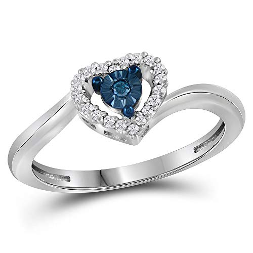 Jewel Tie - Size 11 - Solid 10k White Gold Round Blue Diamond Heart Love Ring (1/10 Cttw.) ()