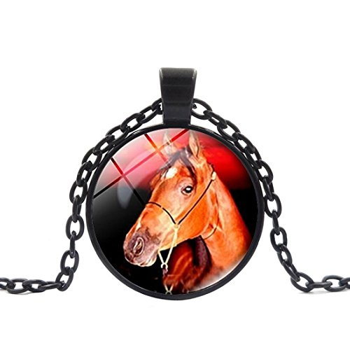 Crystal Necklace Horse Head Vintage jewelry pendant Black Charm by Pretty Lee