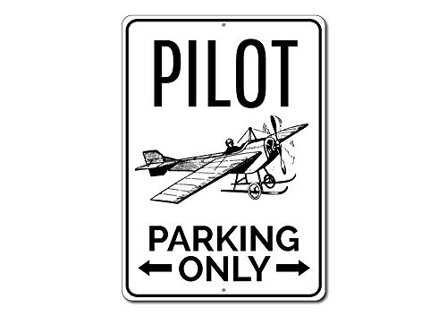 Pilot Parking Only Metal Sign, Personalized Airplane Arrows Gift, Aviator Aviation Lover Man Cave Garage Decor - 10