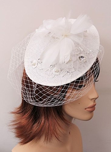 Stunning White Lace Upturned 21cm Circular Disc Applique Embroidered Hatinator Hair Fascinator (Disc Applique)