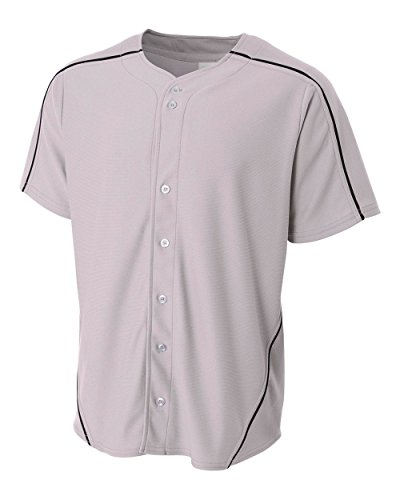 Girls Full Button Jersey (CUSTOM (Name/# on Back and/or Team Name on Front) Grey Jersey with Black Piping Youth Medium Full-Button Baseball Wicking Jersey)