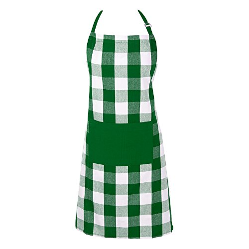 DII Men and Women Kitchen Shamrock Green Buffalo Check Apron, Green and White Buffalo Check