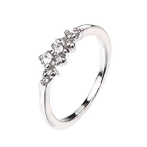 FEDULK Women's Light Luxury Rings Bride Engagement Wedding Birthday Perfect Gifts Promise Ladies Rings(Silver, 8)