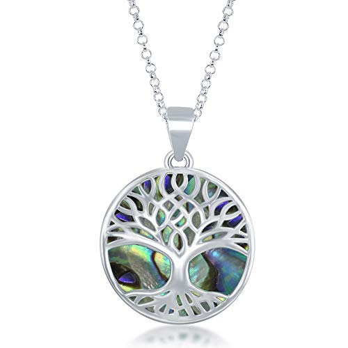Beaux Bijoux Sterling Silver Natural Abalone Stone Tree of Life Circle Pendant with 18