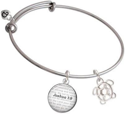 Bible Verse Joshua 1:9 Glass Dome Bangle Bracelet Delight Jewelry Cutout Sea Turtle