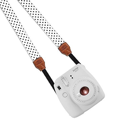 Katia Camera Shoulder Neck Strap Fashion Belt for Fujifilm Instax Mini 25/ Mini 50/ Mini7/ Mini 8/ Mini 90 Instant Camera, Dslr, Slr, Digital Camera for Nikon, Canon, Sony ETC (White/ black dots)