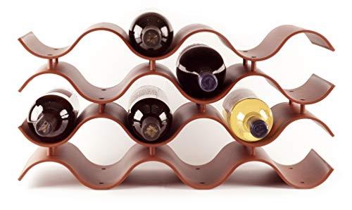 Baridoo Wine Rack. Stackable Countertop Wine Bottle Stand. 12 Bottles Wine Holder Organizer for Table Top, Pantry, Cabinet, Refrigerator. Wine Bar Quality Plastic Lightweight Storage (Terra Cotta).
