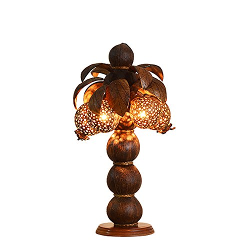 Coconut Club - Coconut Shell Lamp Decorative Table Lamp E14 Lamp Holder Coconut Lights Clubhouse Hotel Bedroom Bedside Lamp Birthday Holiday Gifts ( Color : A )