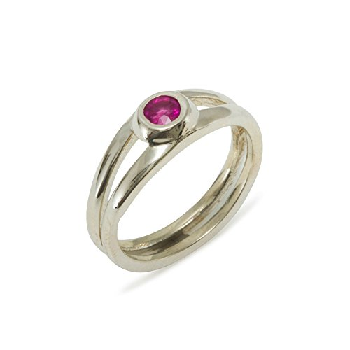 - 925 Sterling Silver Real Genuine Ruby Womens Solitaire Engagement Ring - Size 6