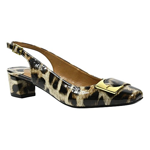 - J. Renee Women's Venda Low Block Heel Slingback,Tan/Black Leopard Print Patent,U