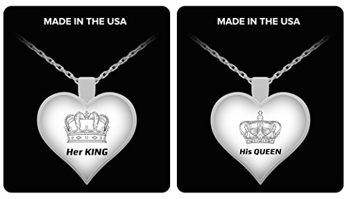 Her King His Queen Necklace - Couples Funny Coffee Mug Set 11oz - Unique Wedding Gift For Bride and Groom - His and Hers Anniversary Present Husband and Wife - Engagement Gifts For Him and Her - VDay