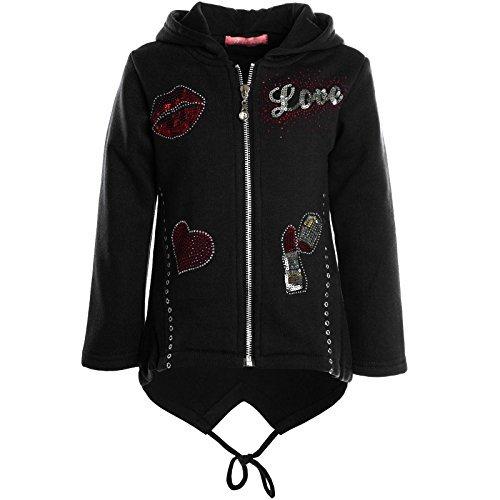 Mädchen Kinder Kapuzen Pullover Hoodie Sweat Shirt Jacke Langarm Winter 20622, Farbe:Schwarz;Größe:128