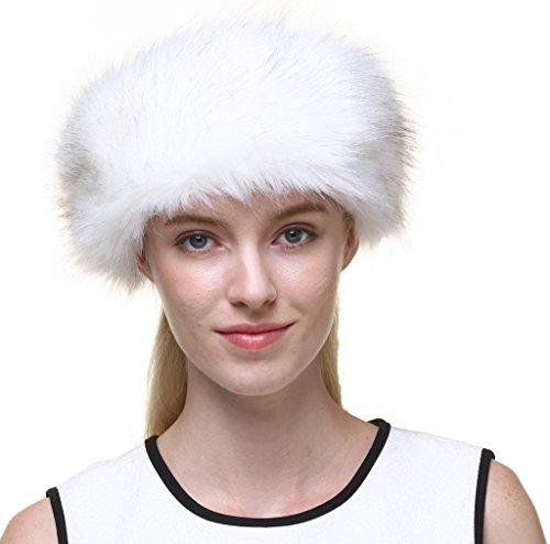 Vogueearth Women's Faux Fur Earwarmer Earmuff Ski Hat Headband Cream White (Hat Fur White)
