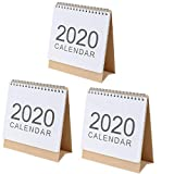 3 Pcs 2019-2020 Desk Calendar Pad Simple Design Stand Up Standing Desktop Paper Year English Wall Calendar Organizer Monthly Flip Daily Scheduler Table Planner Agenda Notepad with American Holiday
