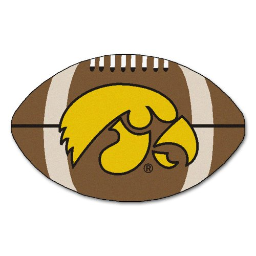 FANMATS NCAA University of Iowa Hawkeyes Nylon Face Football Rug (Ball University Rug Soccer)