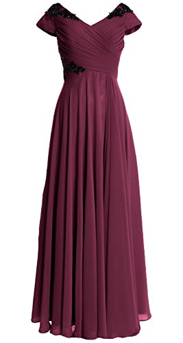 MACloth Women Wedding Party Formal Gown Cap Sleeve Long Mother of Bride Dress Weinrot 24GuJ0yq