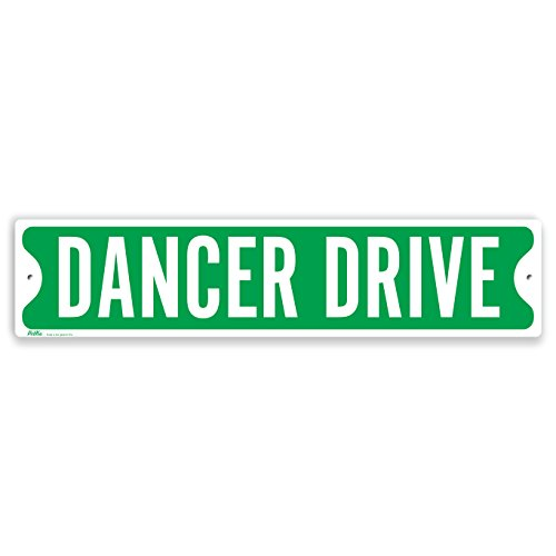 PetKa Signs and Graphics PKSS-0027-NA_18x4''Dance Drive'' Aluminum Sign, 18'' x 4'', White on Green by Petka Signs and Graphics