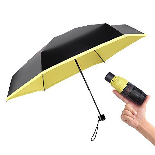 BOY Mini Umbrellas for Travel, Folding UV Umbrella, Compact, Lemon Yellow