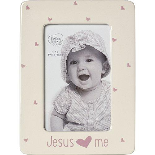 (Precious Moments,  Jesus Loves Me, Ceramic 4 x 6 Photo Frame, Girl, 164462)