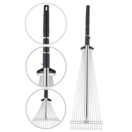 - TTLike Garden Lawn Leaf Rake 61 Inch Adjustable and Telescopic Metal Rake Tool for Yard (Iron Pole)