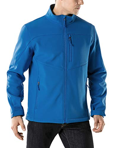 TSLA Men's Softshell Athletic Microfleece Active Wind-Repel Coat Full-Zip Outdoor Water-Proof Jacket, Active Softshell(ykj80) - Blue, Large