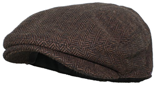 (Ted and Jack - Street Easy Herringbone Driving Cap with Quilted Lining in Black and Brown Size Large/X-Large)