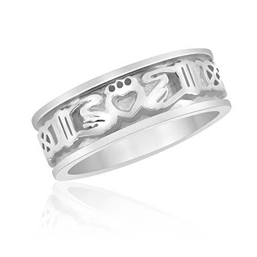 Amazon.com: Sterling Silver Claddagh Ring with Celtic