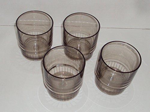 Tupperware 10 Ounce Deluxe Acrylic Tumblers Set of 4 Charcoal Color (Tumblers Tupperware Acrylic)