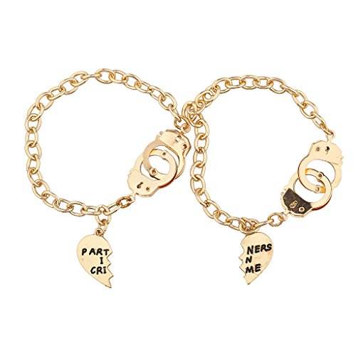 Lux Accessories 2 Piece Partners in Crime BFF Handcuff Bracelet Set -