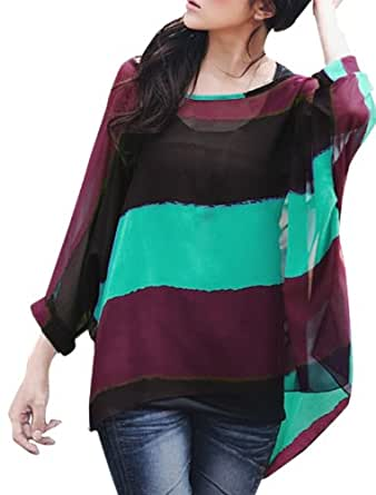 Allegra K Women Cape Sleeve Color Block Striped Loose Shirt w Tank Top